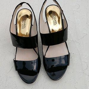 Michael Kors Leather Black Shoes MK logo- 8M